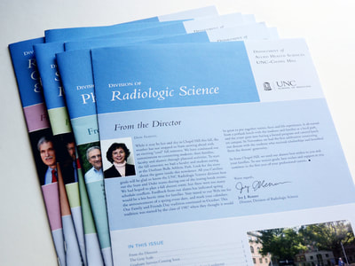 Photograph of a stack of newsletters for the UNC's Department of Allied Health Sciences all with Carolina blue and each with a different secondary color. Photography and text are included.