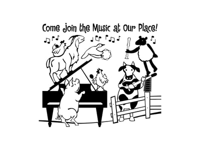 "his black and white graphic illustration shows a group of farm animals playing instruments. The animals include a pig conducting at a grand piano, a goat and chicken standing on the piano and singing, another chicken playing a maraca, a cow playing the guitar, a flying duck playing the tambourine, and a sheep dancing on a fence and holding a recorder. Childlike text reads ""Come join the music at our place!"""