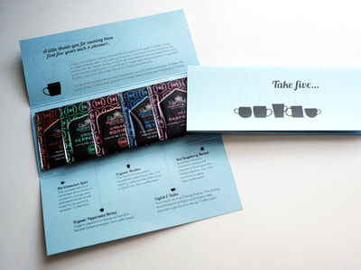 Photo of a tri-fold light blue mailer with black text and graphics, including silhouetted tea mugs. The unfolded mailer shows five different bags of tea.