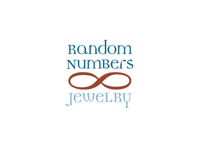 "This logo shows ""Random Numbers"" in teal above a red-brown infinity symbol, with ""Jewelry"" below in a lighter teal."