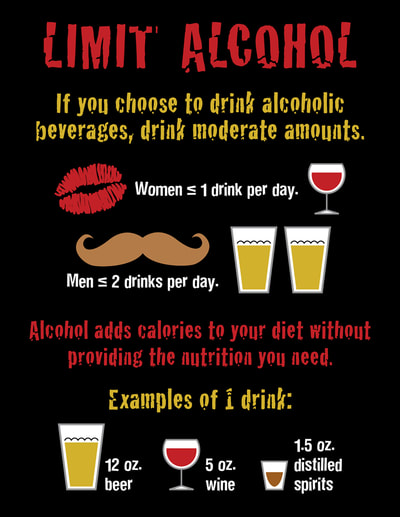 This black, red, gold, and white infographic encourages patents to moderate their alcohol intake. Graphics include beer, wine, and spirits in glasses as well as a lipstick kiss and brown mustache.