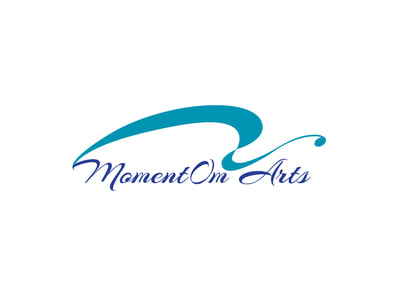 "This blue and teal logo has ""MomentOm Arts"" in scrip with a swooshy swirl above."