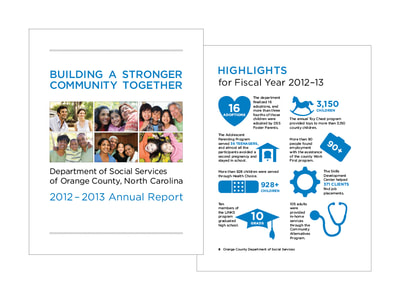 A blue and black infographic shows icons and numbers describing the people aided by the Orange County, North Carolina Department of Social Services. The cover of the brochure has blue and black text and a 2x3 grid of photographs showing a diverse group of people and families.