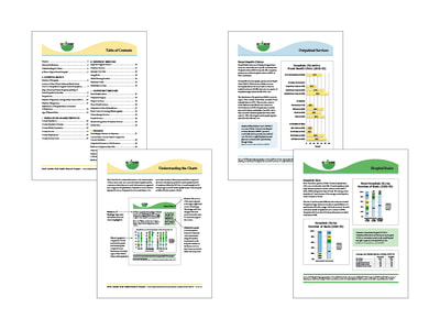 Four pages of a chart pack for the North Carolina Rural Health Research Project show yellow, light green, dark green, and light blue color schemes for text, charts, and graphs.