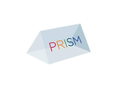 Logo that shows a transparent, blue-green prism with the words PRISM in a rainbow of colors, one for each letter, on the right-facing facet.