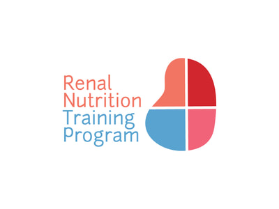 "This logo shows a kidney icon divided into four quadrants of four different colors: red, pink, Carolina blue, and peach. ""Renal Nutrition"" is in peach to the left with ""Training Program"" in Carolina blue below it."