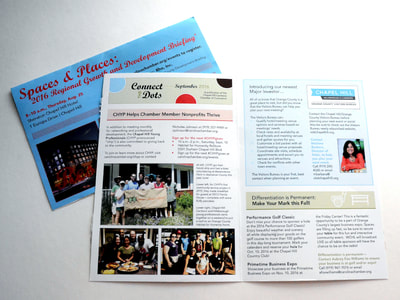 Photograph of the blue and red cover and the clean design of the interior of the Connect the Dots newsletter. Colors include Carolina blue, red, and green, and photographs are included in the interior spread.