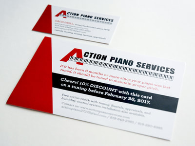 "Photograph of a tuning mailer and business card, both with a black, white, and red logo with a big red ""A"" for Action Piano and a piano keyboard graphic below. A red triangle shape is at the left of both pieces."