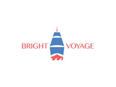 "This logo shows an illustration of a front-facing sailing ship with three French blue sails and the rest of the ship in coral red. ""Bright"" is to the left of the ship and ""Voyage"" is to the right in an all-caps sans serif font."