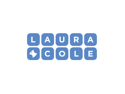 "This periwinkle blue logo is made up of squares with rounded corners and reads ""Laura Cole"" with one white letter on each blue block, and with a white spool of thread on the lower left block."