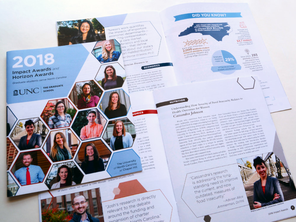 A cover and two interior spreads for the 2018 Impact Awards and Horizon Awards publication for The Graduate school at UNC show a honeycomb of hexagonal student photographs, larger photos and pull-quotes inside, and an infographic that uses a map, a pie chart, and various scientific icons.