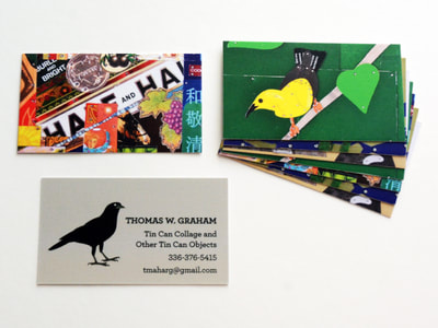 Photo of business cards with the front side a warm grayish taupe background with a simple illustration of a grow facing the text; a pile of the backs of the business cards feature various photos of the artist's tin collages, including a brightly colored one and one with a yellow bird.