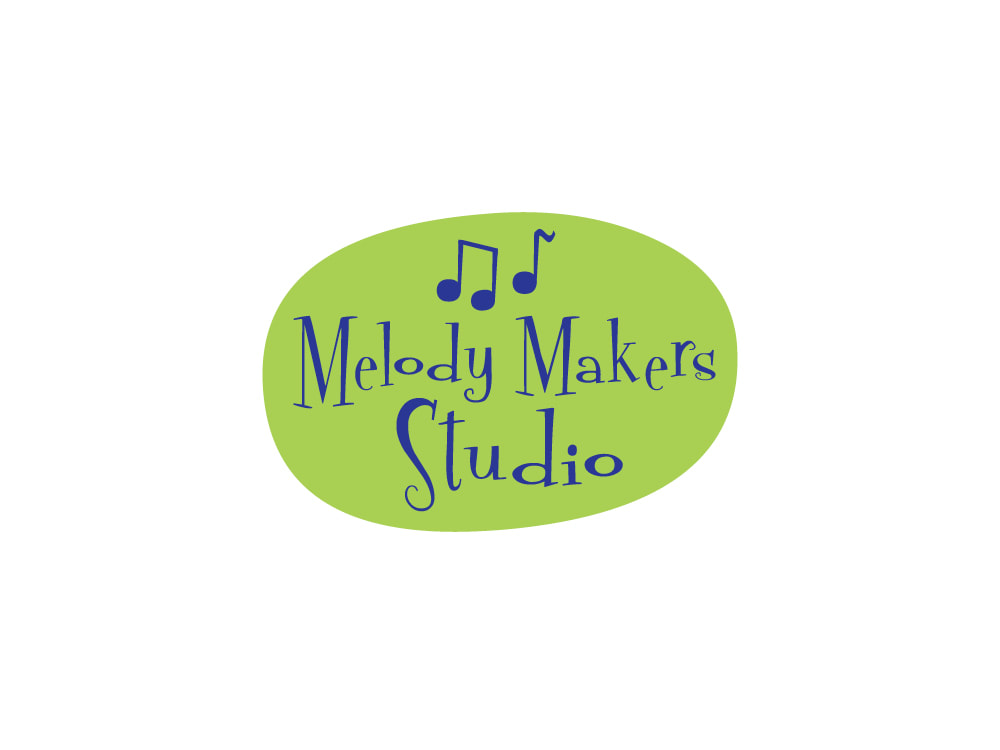 "An irregular oval shape in lime green has cobalt blue music notes and ""Melody Makers Studio"" in a funky serif font."