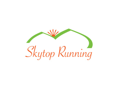 "This logo shows a bright green double mountain line with an an orange sun rising between them and the words ""Skytop Running"" in orange below."