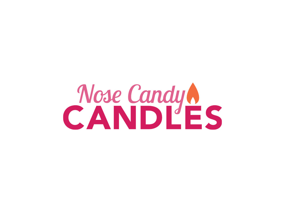 "Logo that shows a dark pink, all-capitals ""CANDLE"" with ""Nose Candy"" in lighter pink script on top and an orange candle flame hovering above the ""E"" in ""CANDLE."""