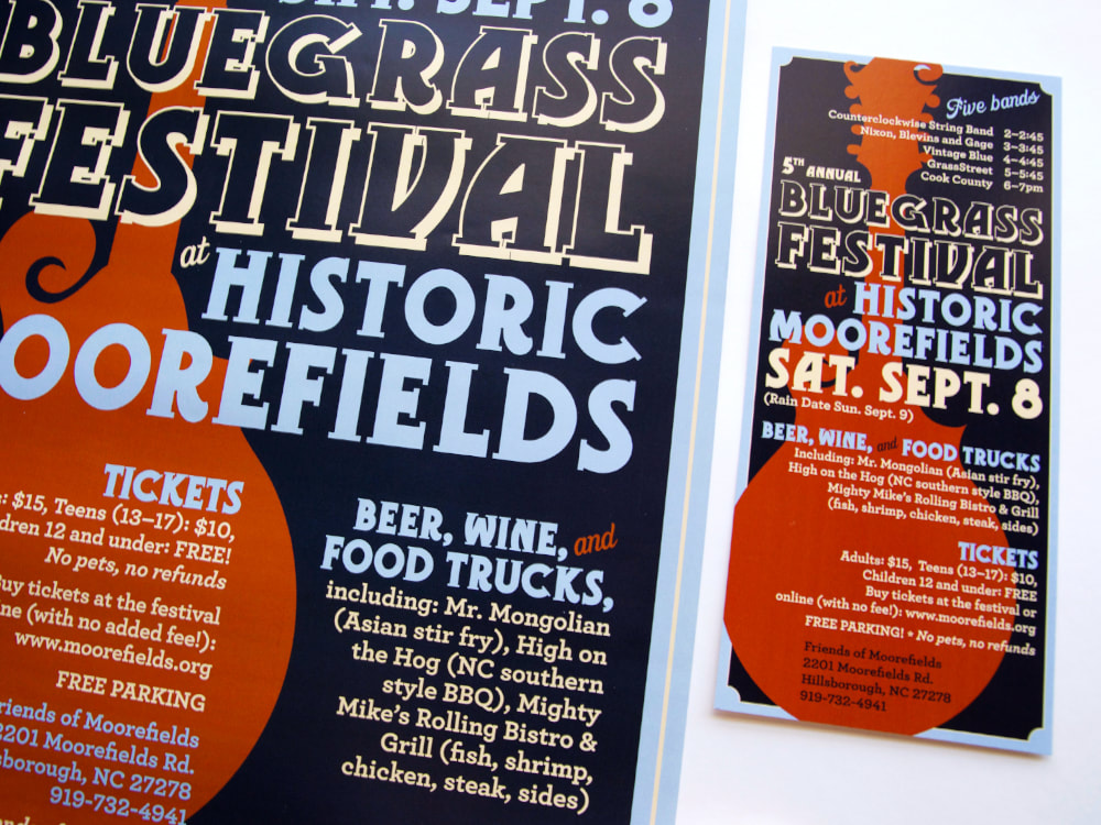 Close up of part of a poster and a full rack card advertising the 5th Annual Bluegrass Festival at Historic Moorefields for the Orange County Visitors Bureau. A dark orange mandolin is on a navy background with cream and light blue lettering in a vintage poster style.