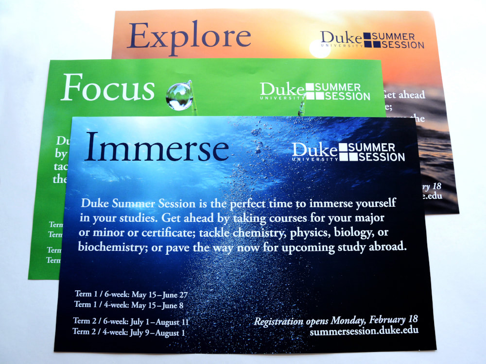 "Three posters all use full-bleed nature photos for Duke Summer Session. The top poster has a dark blue underwater ocean photo for the word ""Immerse."" The one below is green grass with a single water droplet in focus for the word ""Focus."" The last poster shows the sunset over the open ocean for the word ""Explore."""