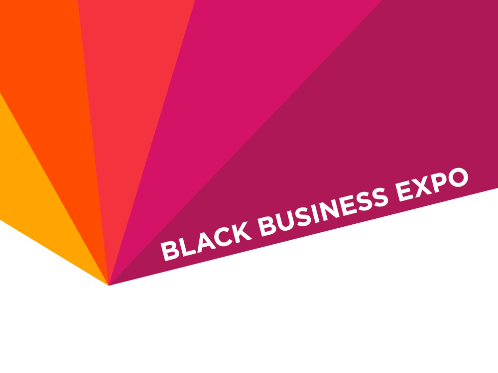 "A graphic snippet for the 2018 Black Business Expo has five wedges of color coming to a point. From left to right, the colors are golden yellow, orange, carnelian red, magenta, and bright plum purple. The words ""Black Business Expo"" are in a white, all-caps, sans-serif font reversed out of the plum-colored wedge"